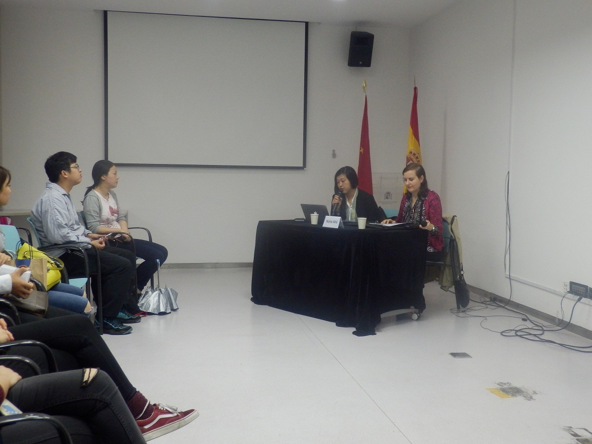Catalan writer Núria Añó at Instituto Cervantes in Shanghai, China