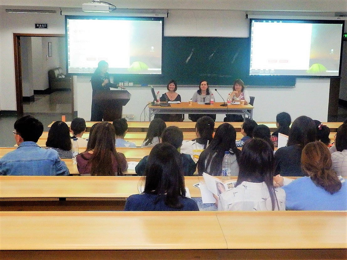 Writers Núria Añó, Ángela Pradelli and Anna Rúbio with Professor Siwen Ning at East China Normal University